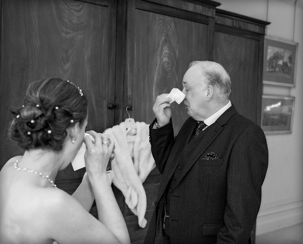black and white bride and father tears of joy, staffordshire wedding photographer, heath house weddings