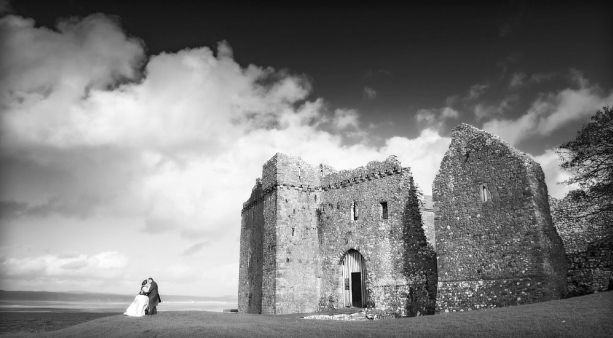 weobley castle, bride and groom, wedding photographer in wales