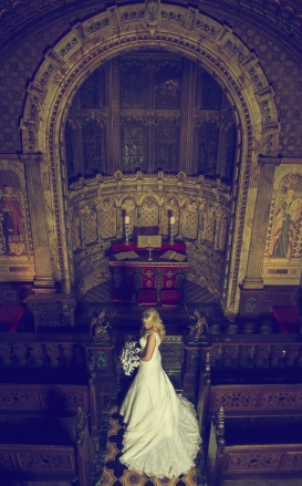 bride in a chapel, gothic, cheshire wedding photographer, crewe hall