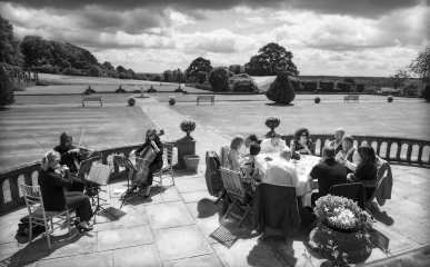 afternoon tea outdoors black and white, staffordshire wedding photographer, heath house weddings