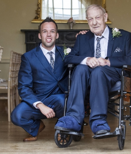 groom and grandfather, staffordshire wedding photographer, alrewas hayes weddings