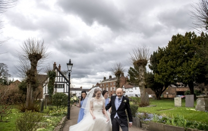 bride and father walking to church, warwickshire wedding photographer, Ansty Hall
