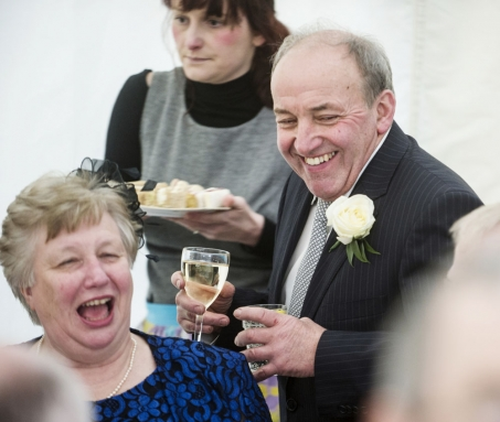 guests laughing, cheshire wedding photographer