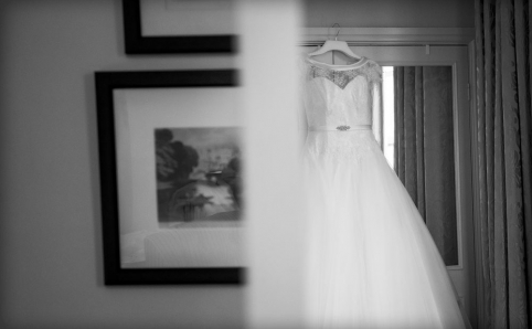 black and white wedding dress hanging up, warwickshire wedding photographer, Ansty Hall