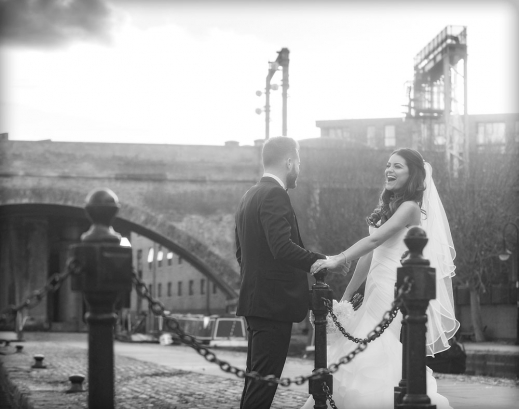 bride and groom laughing, canal side, manchester wedding photographer,Great John Street Hotel