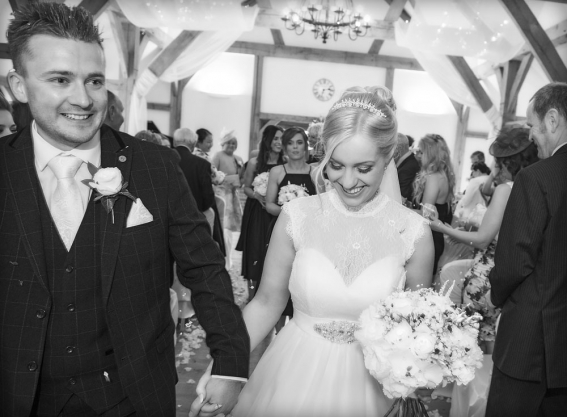 black and white, bride and groom confetti, cheshire wedding photographer, sandhole oak barn
