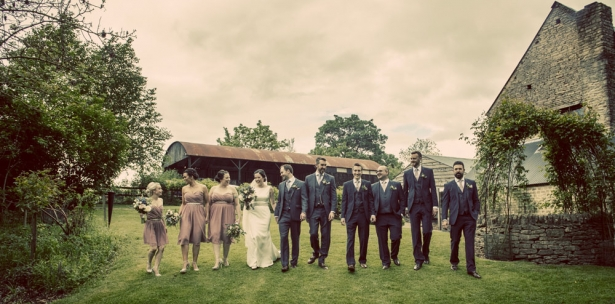 bride and groom and wedding party, gloucestershire wedding photographer, cripps barn