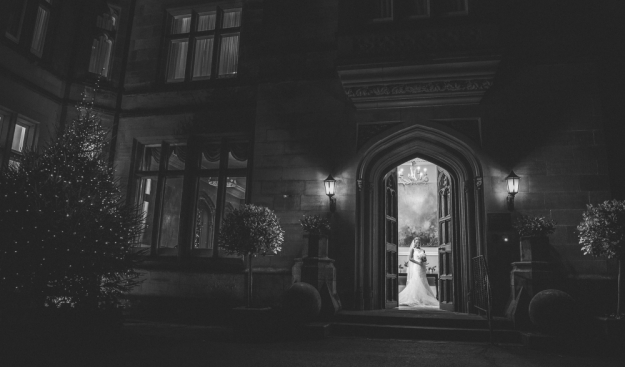 black & white wedding shot bride and venue