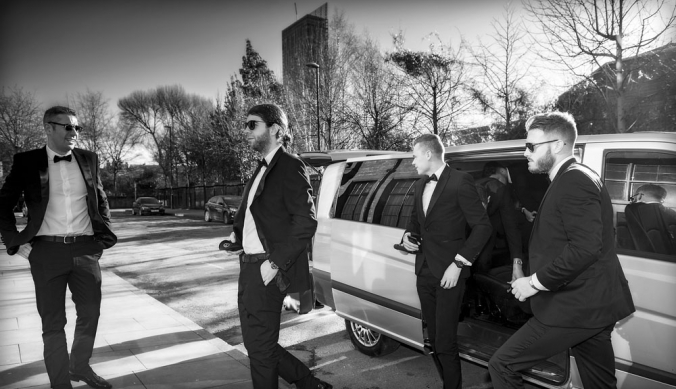 black and white groom and best man arriving, manchester wedding photographer, Great John Street Hotel